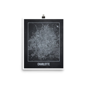 Charlotte Antique Paper Map Gray