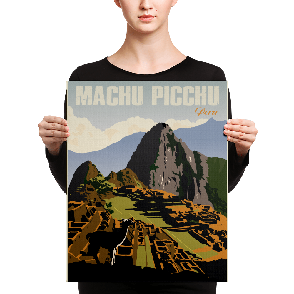 Machu Picchu Peru | Vintage Travel Poster | Canvas Print