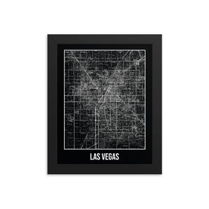 Framed Las Vegas Antique Paper Map Black