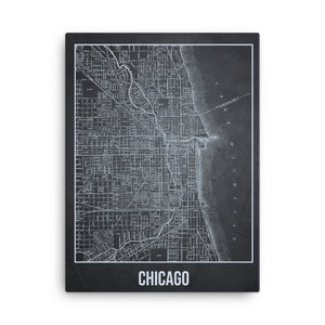Chicago Antique Canvas Print Map Gray