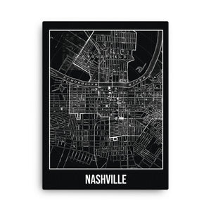 Nashville Antique Canvas Print Map Black