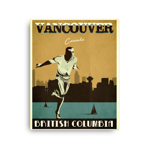 Vancouver Canada | Vintage Travel Poster | Canvas Print (Gold)