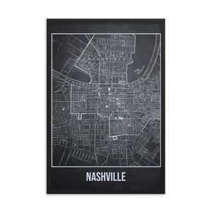 Framed Nashville Antique Paper Map Gray