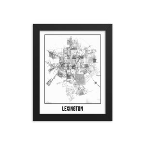 Framed Lexington Antique Paper Map White