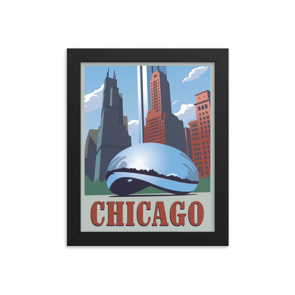 Chicago | Cloud Gate | Vintage-Style Travel Poster | Framed Print