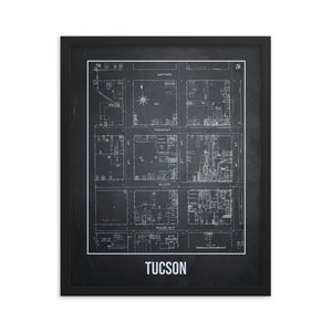 Framed Tucson Antique Paper Map Gray