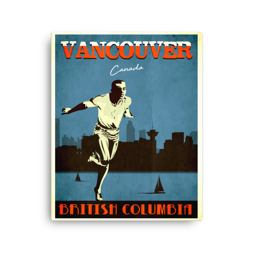 Vancouver Canada | Vintage Travel Poster | Canvas Print (Blue)
