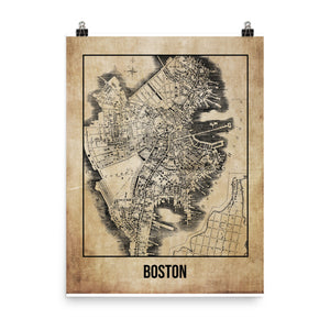 Boston Antique Paper Map