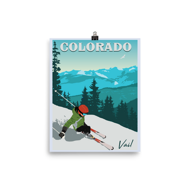 Ski Vail Colorado Vintage Travel Poster