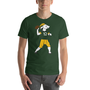 Aaron Rodgers GOAT Shirt | Green and Gold | Short-Sleeve Unisex T-Shirt