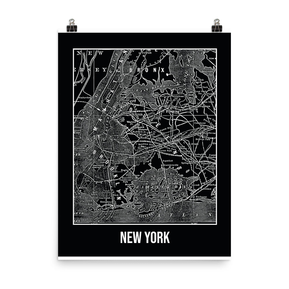 New York Antique Paper Map Black