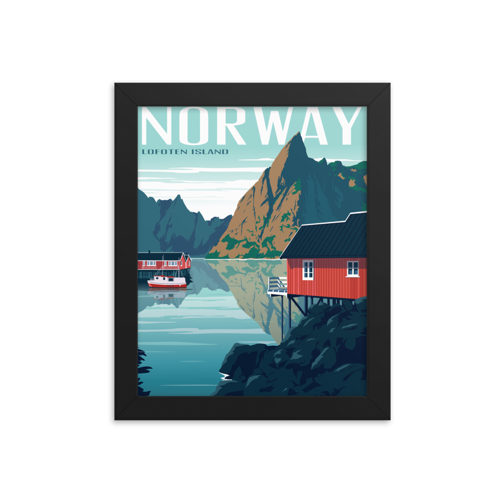 Lofoten Islands Norway | Vintage-Style Travel Poster | Framed Print