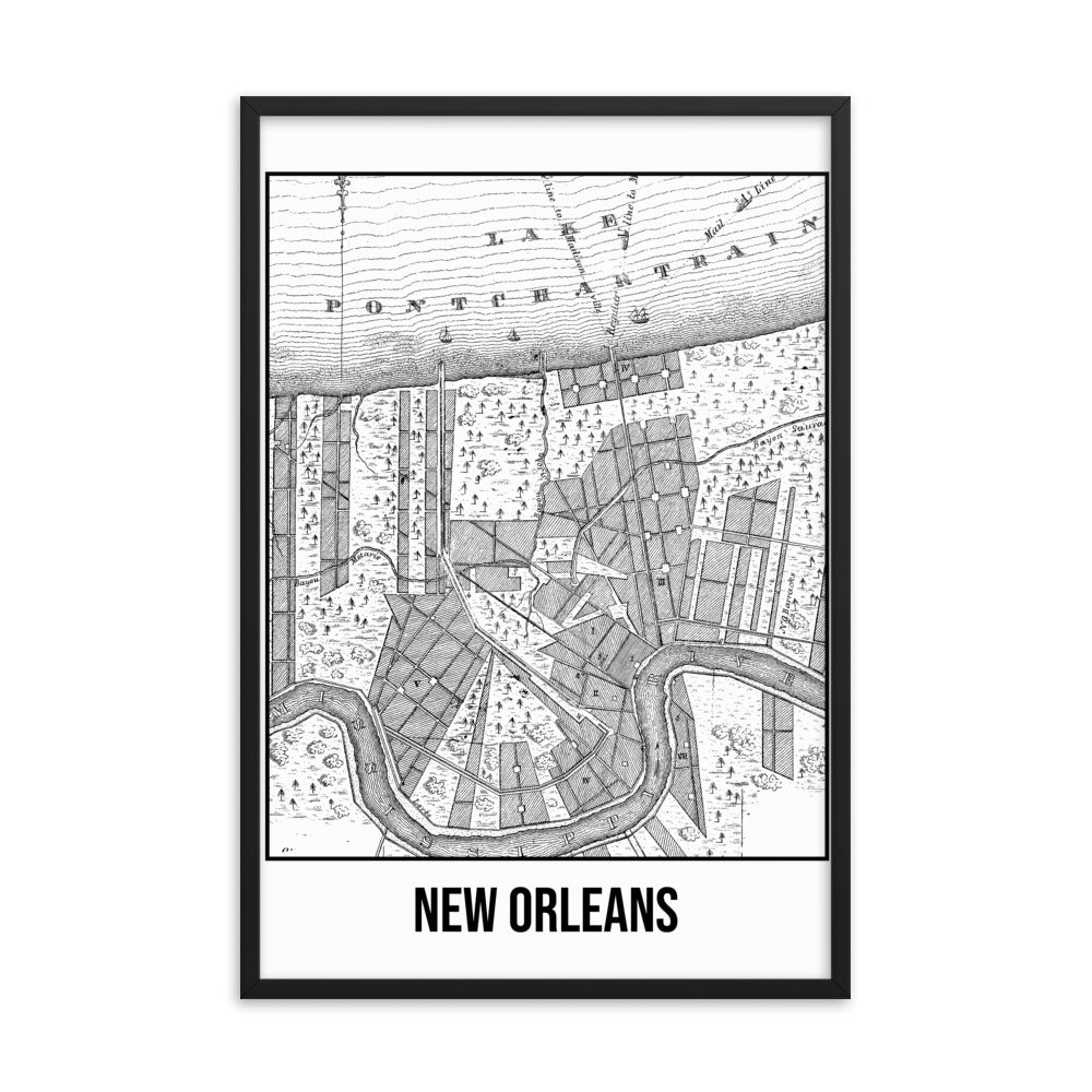 Framed New Orleans Antique Paper Map White