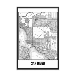 Framed San Diego Antique Paper Map White