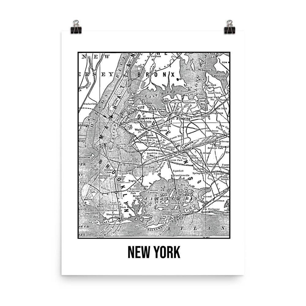 New York Antique Paper Map White