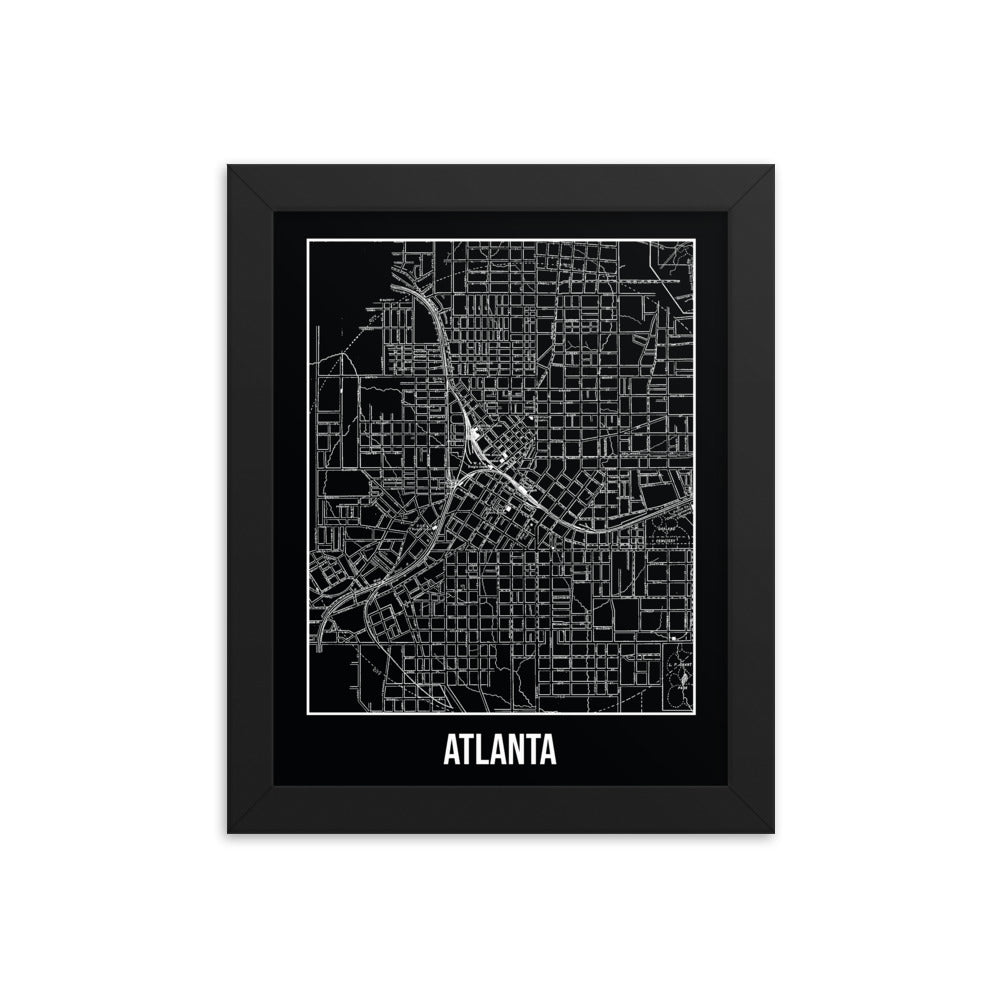 Framed Atlanta Antique Paper Map Black