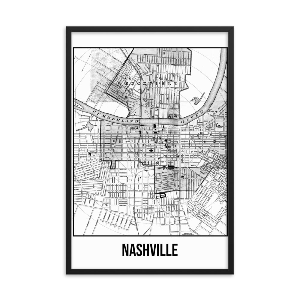 Framed Nashville Antique Paper Map White