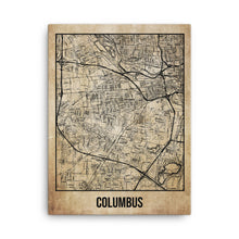 Columbus Antique Canvas Print Map