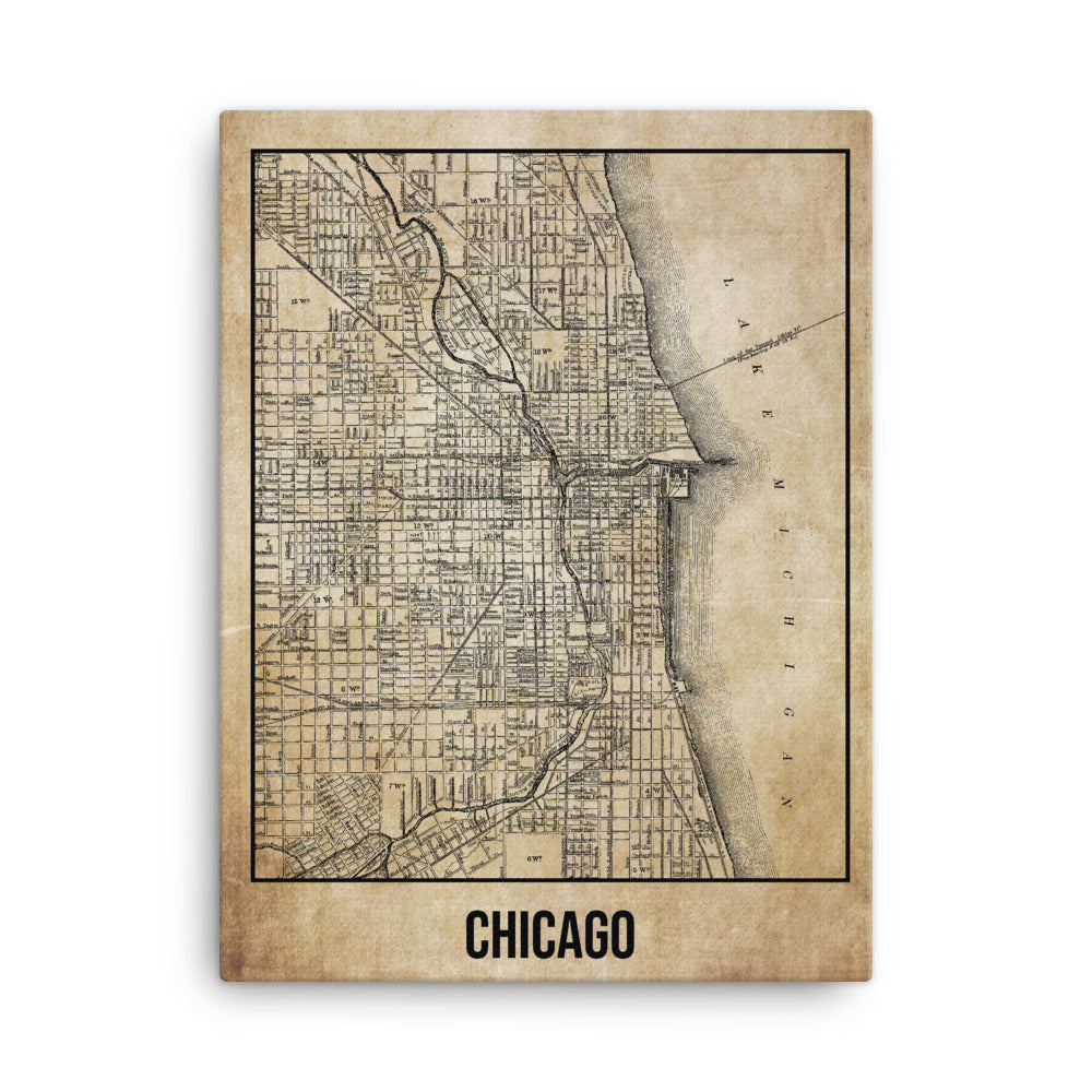 Chicago Antique Canvas Print Map