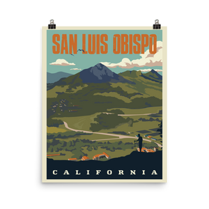 San Luis Obispo California | Vintage-Style Travel Poster | Photo Paper Poster