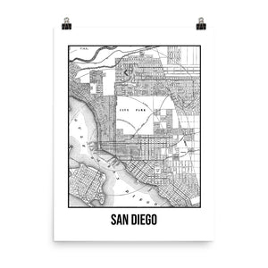 San Diego Antique Paper Map White