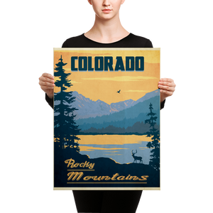 Colorado Rocky Mountains | Vintage Travel Poster | Canvas Print
