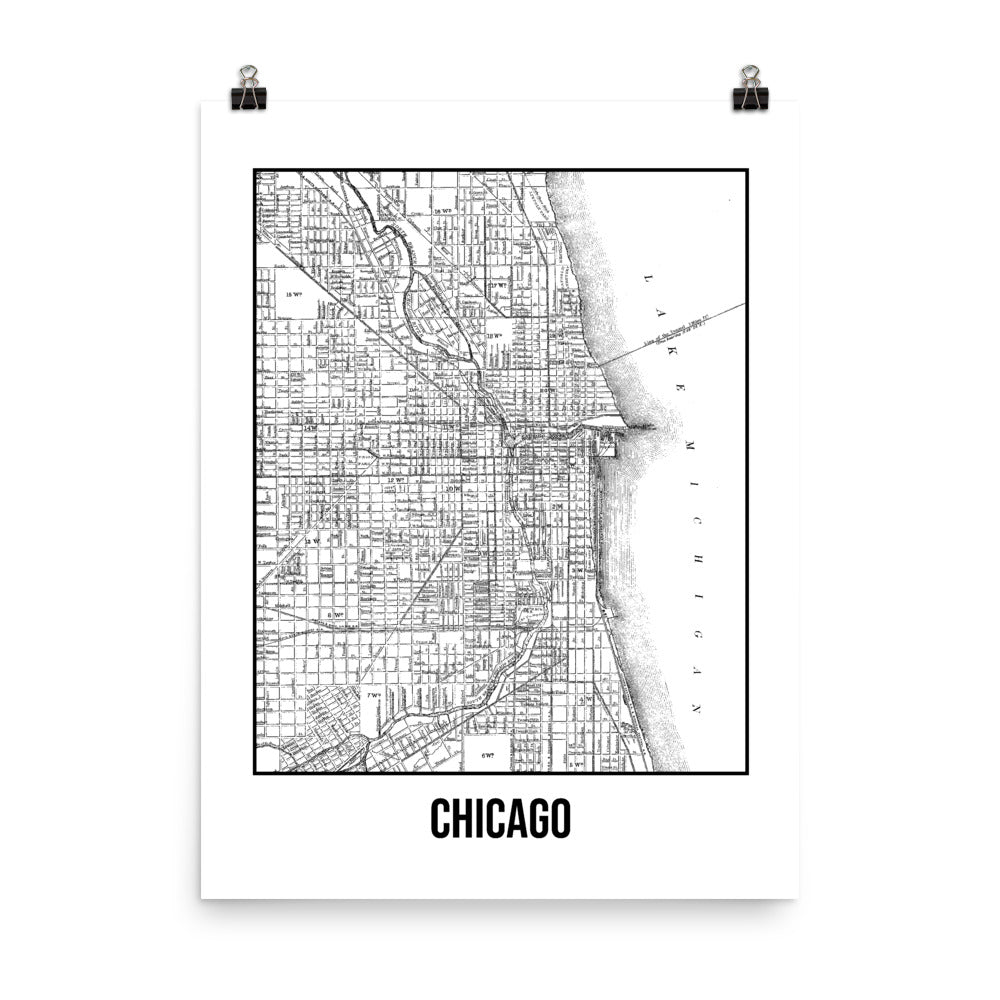 Chicago Antique Paper Map White