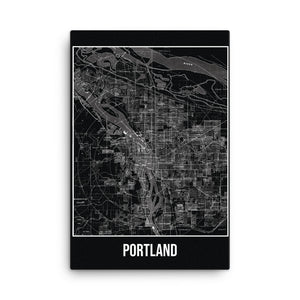 Portland Antique Canvas Print Map Black