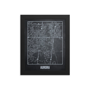 Framed Aurora Antique Paper Map Gray