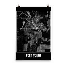 Forth Worth Antique Paper Map Black