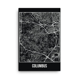 Columbus Antique Canvas Print Map Black
