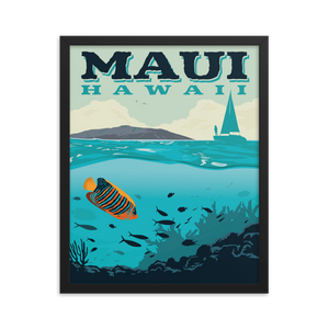 Maui Hawaii | Vintage-Style Travel Poster | Framed Premium Paper Print
