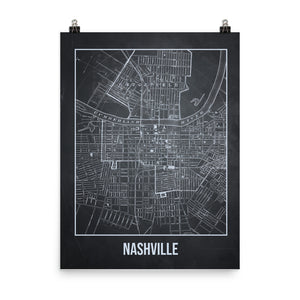 Nashville Antique Paper Map Gray