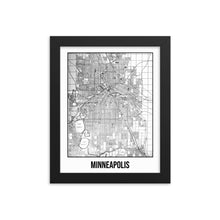 Framed Minneapolis Antique Paper Map White