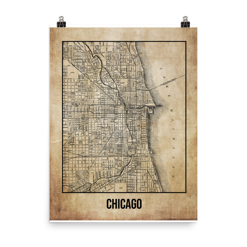 Chicago Antique Paper Map