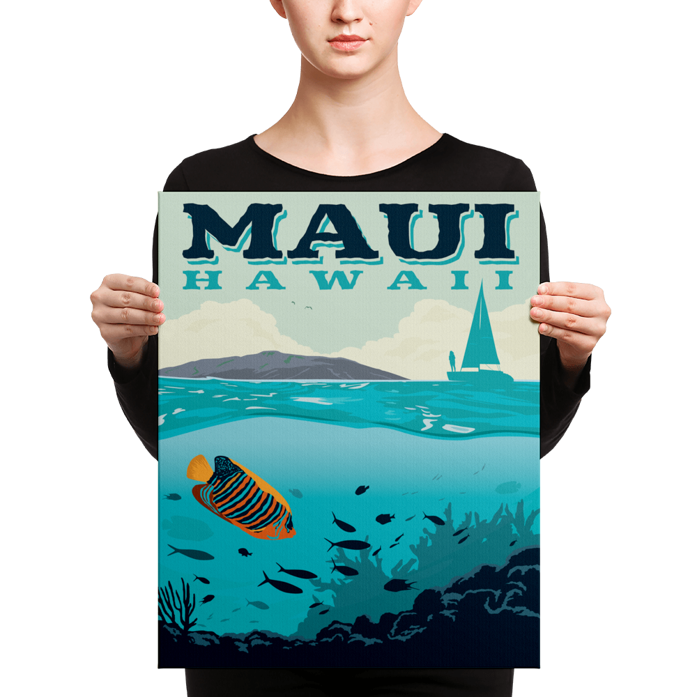 Maui Hawaii | Vintage-Style Travel Poster | Canvas Print