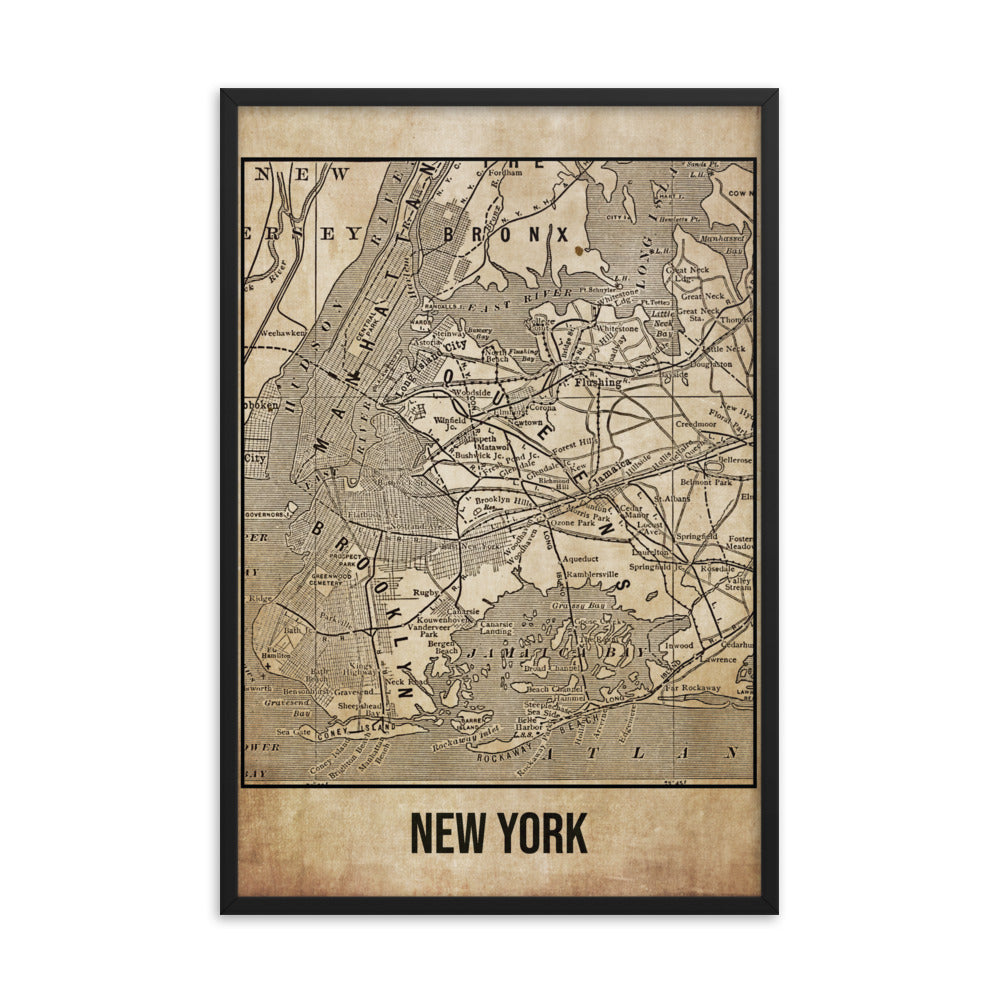 Framed New York Antique Paper Map