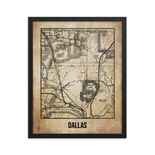 Framed Dallas Antique Paper Map