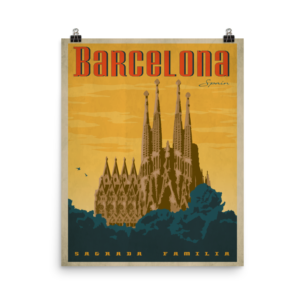 Barcelona Spain Travel Poster