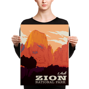 Zion National Park | Vintage Travel Poster | Canvas Print