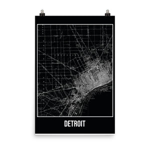 Detroit Antique Paper Map Black