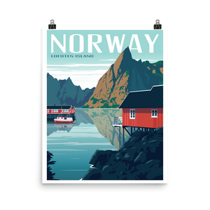 Lofoten Islands Norway | Vintage-Style Travel Poster | Premium Paper Print