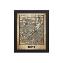 Framed Denver Antique Paper Map