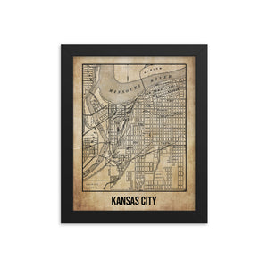 Framed Kansas City Antique Paper Map