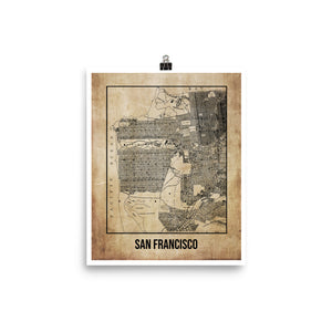 San Francisco Antique Paper Map