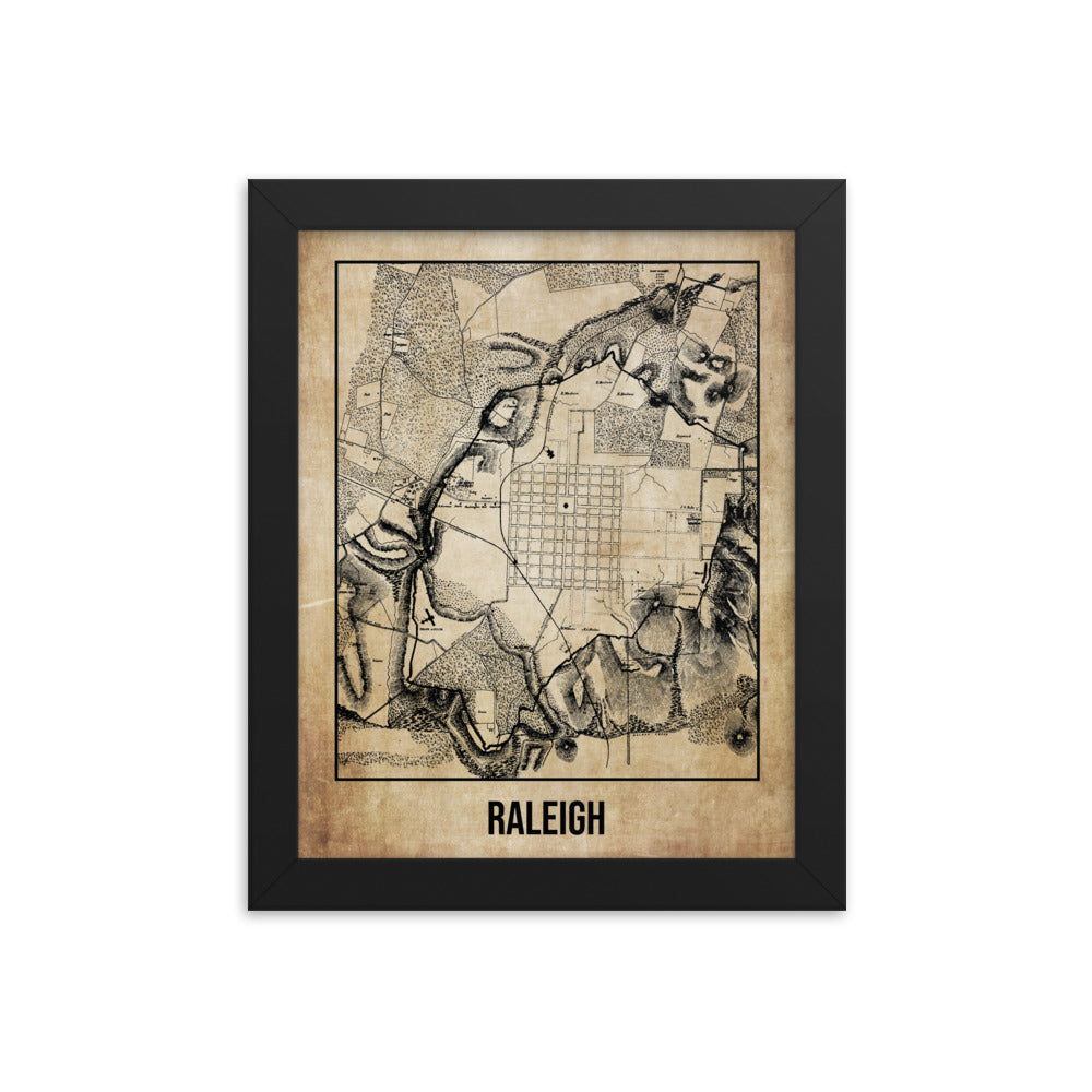 Framed Raleigh Antique Paper Map