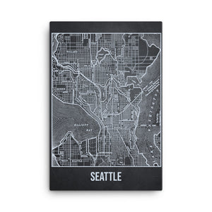 Seattle Antique Canvas Print Map Gray