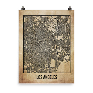 Los Angeles Antique Paper Map