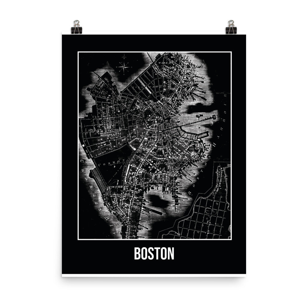 Boston Antique Paper Map Black