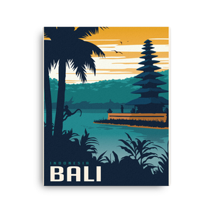 Bali Indonesia | Vintage-Style Travel Poster | Canvas Print (Dusk)